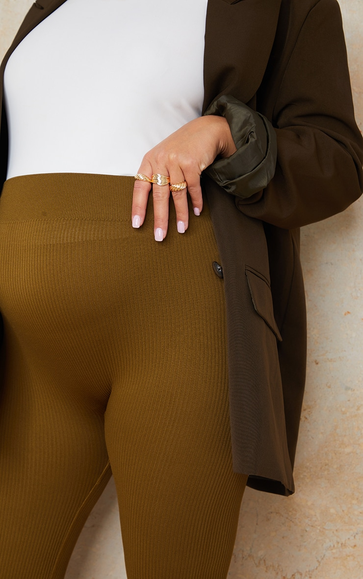 Maternity Olive Contour Bump Support Ribbed Leggings 4