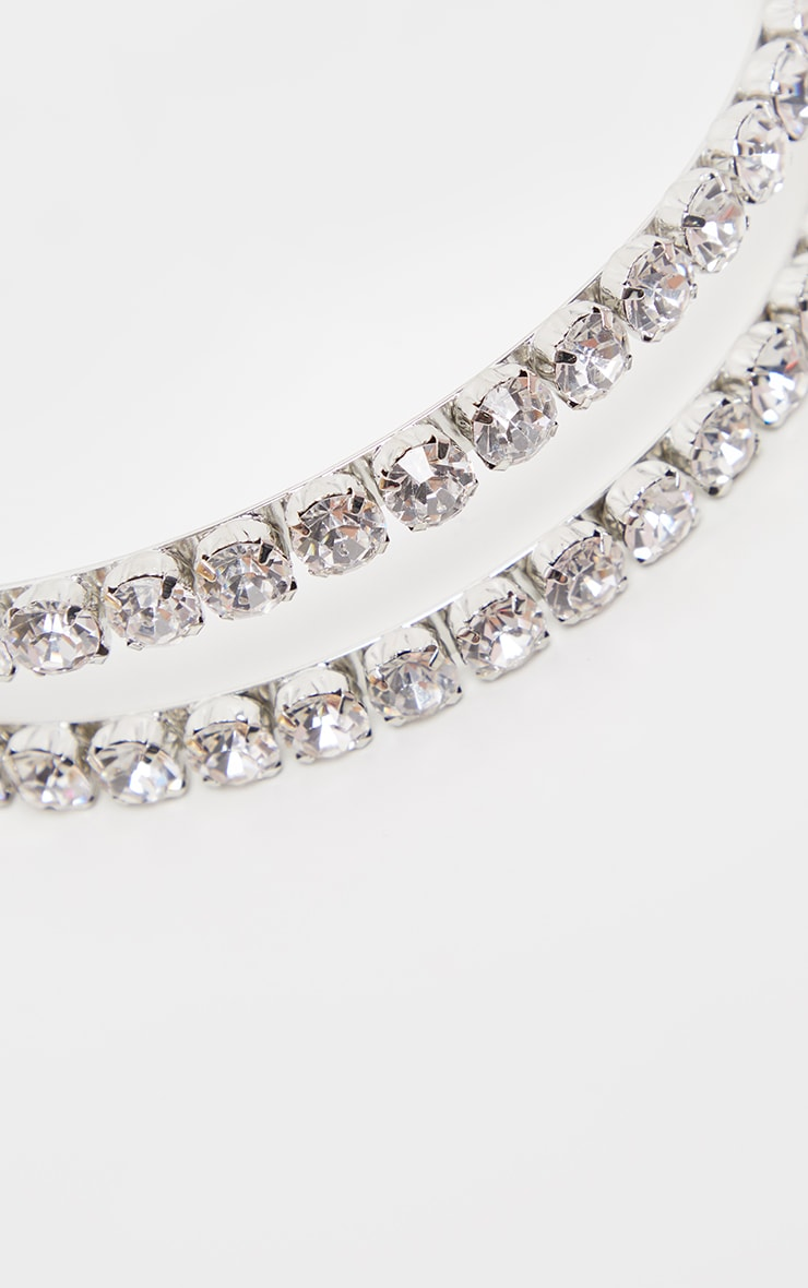 Silver Large Diamante Double Headband 3