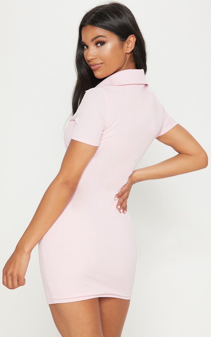 PRETTYLITTLETHING Pastel Pink Embroidered Collar Detail Bodycon Dress 2