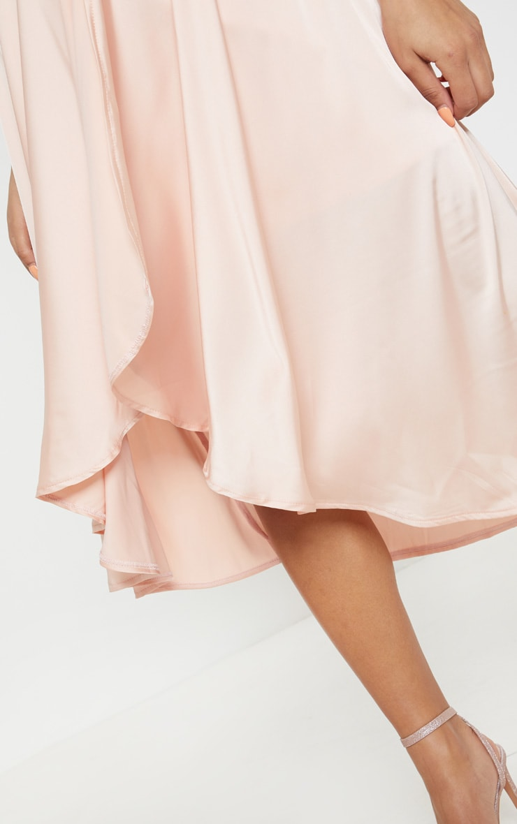 Blush Satin Strappy Layered Skater Midi Dress 5