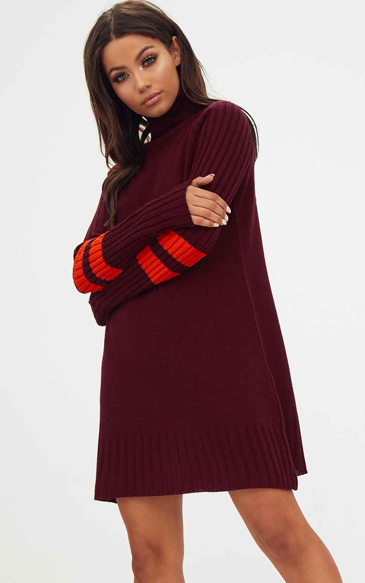 Burgundy High Neck Sports Stripe Jumper Dress 1