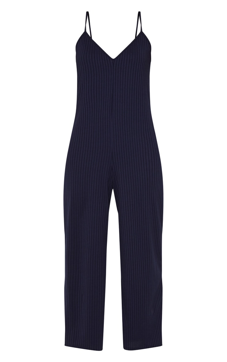 Navy Ribbed V Neck Oversized Jumpsuit 3