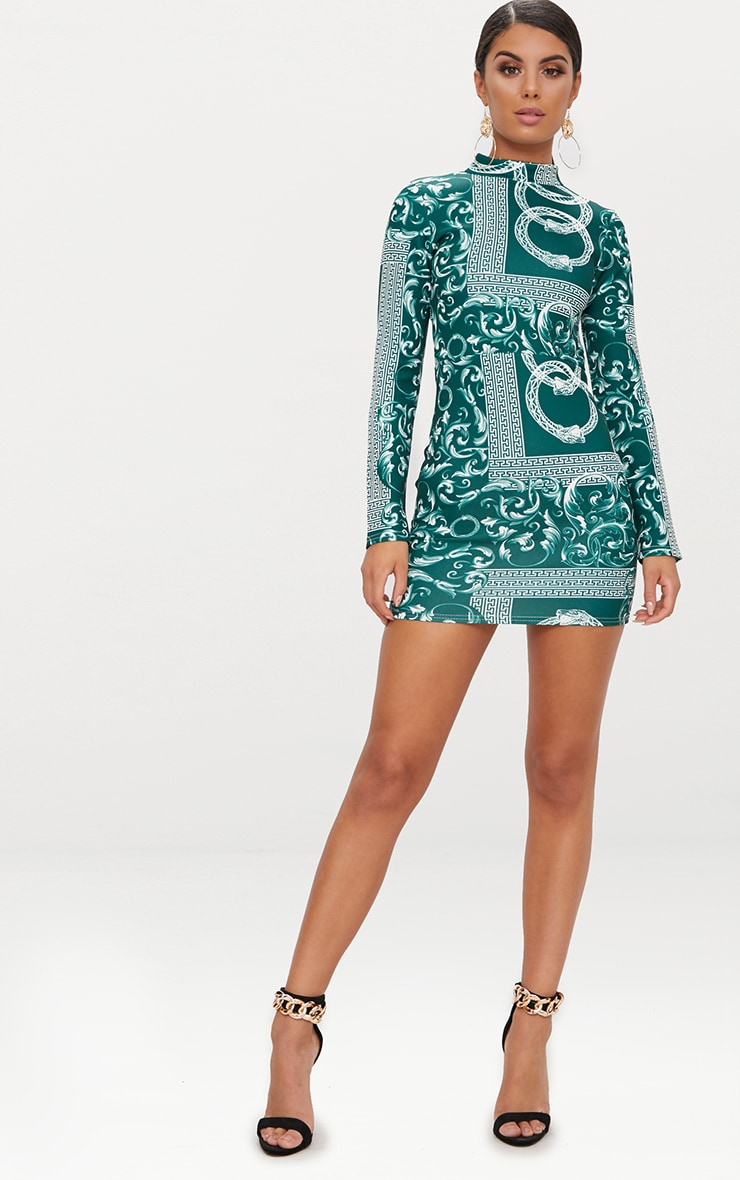 Emerald Green Long Sleeve High Neck Printed Backless Bodycon Dress 4