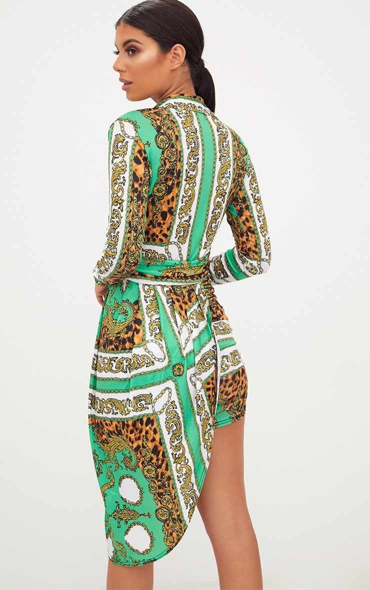 Green Chain Print Long Sleeve Drape Front Plunge Bodycon Dress 2