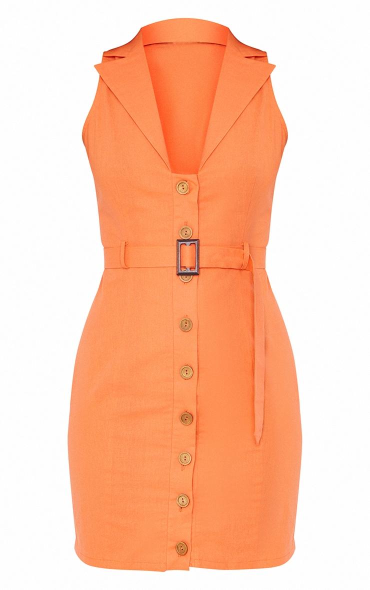 Tangerine Linen Look Button Down Belted Sleeveless Bodycon Dress 5