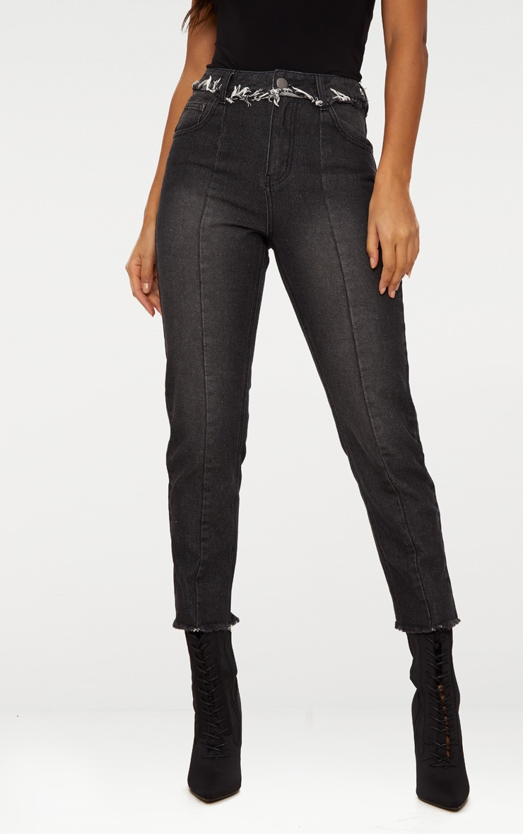 Washed Black Frayed Seam Cropped Straight Leg Jeans 2