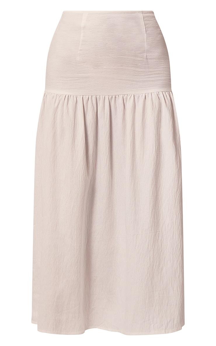 White Woven Tiered Panel Midi Skirt 5