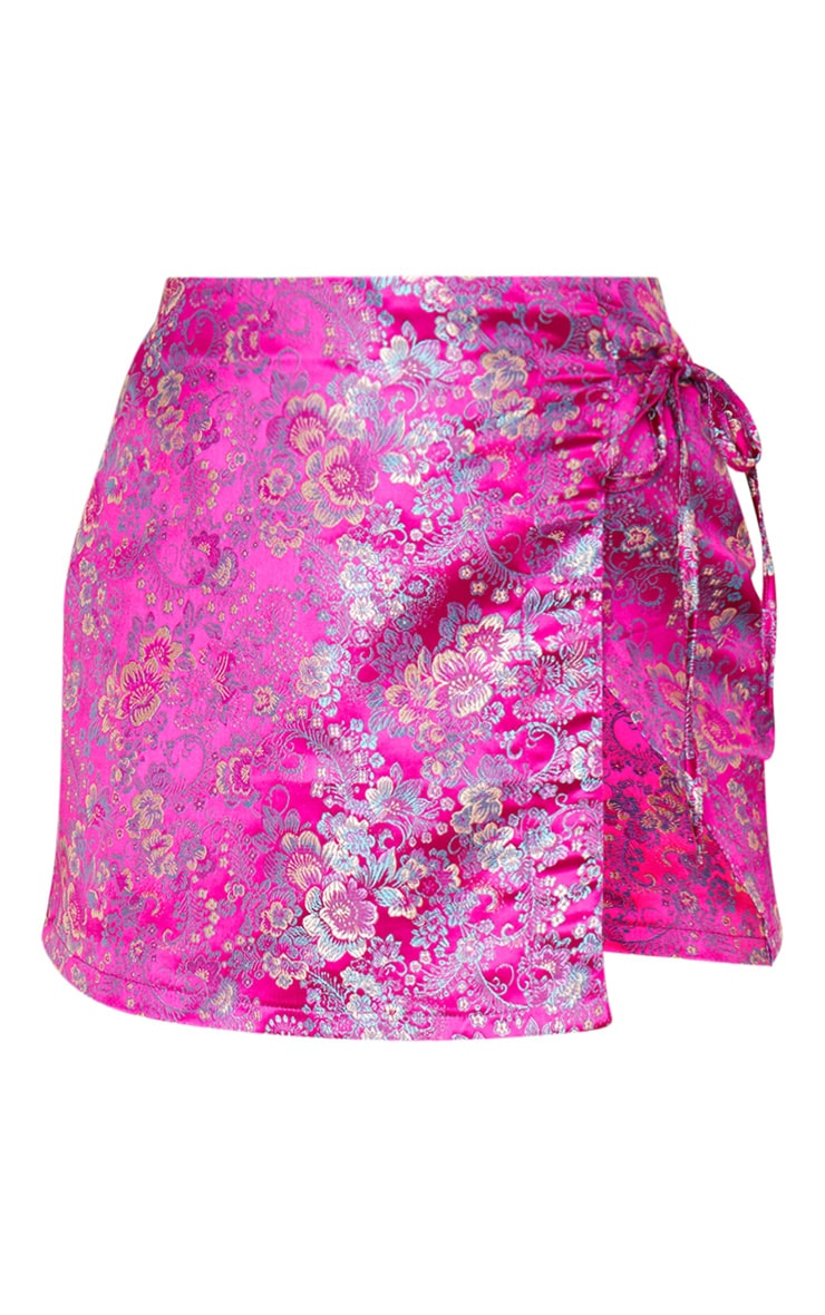 Fuchsia Jacquard Wrap Mini Skirt 3