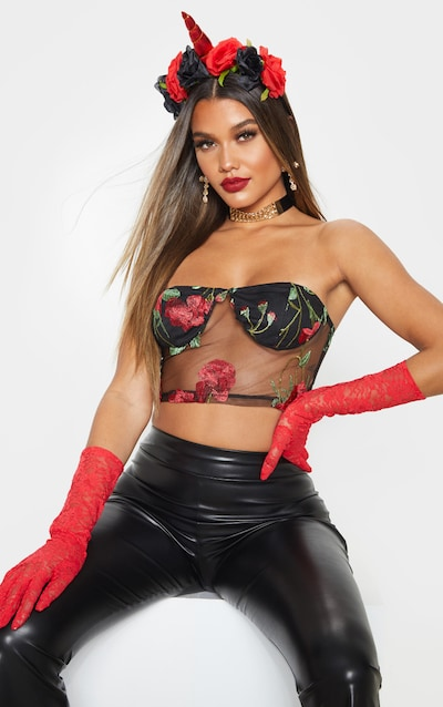 Red Floral Mesh Embroidered Bandeau
