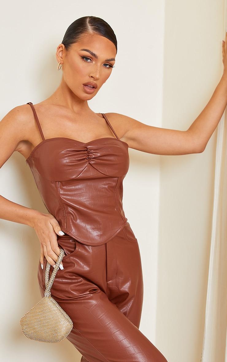 Chocolate Brown Croc Print Faux Leather Cup Detail Strappy Corset Top 1