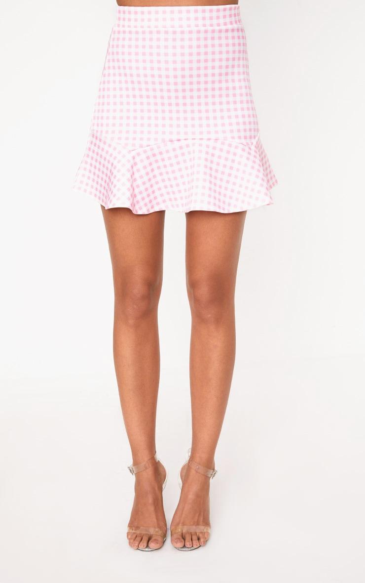 Pink Gingham Flippy Hem Mini Skirt 2