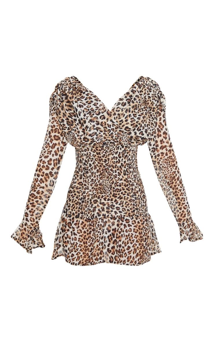 Tan Leopard Print Long Sleeve Shirred Waist Skater Dress 3
