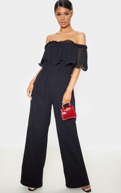 Black Chiffon Bardot Ruffle Jumpsuit