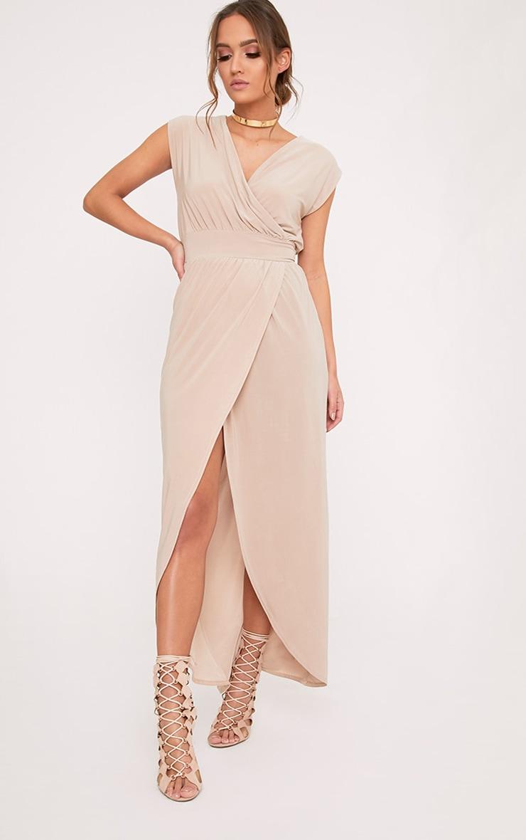 Marlisa Stone Slinky Plunge Maxi Dress 1