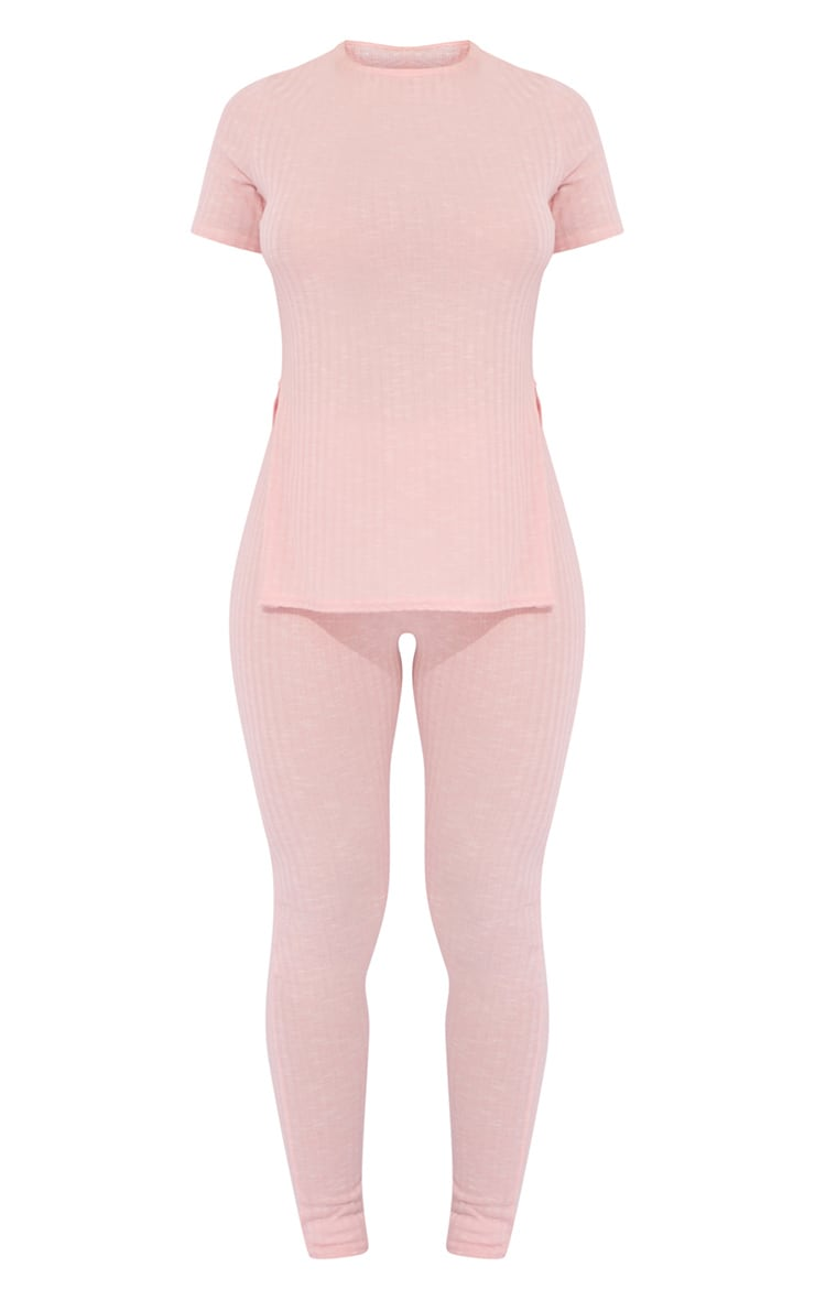 Baby Pink Knitted Side Split Tee And Legging Set 5