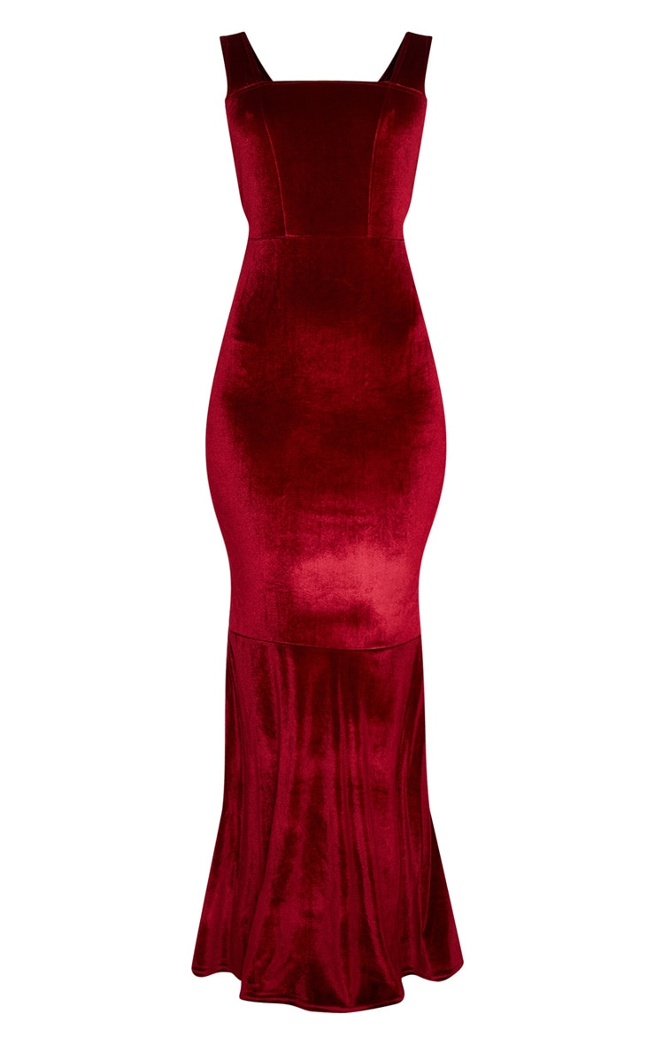 Burgundy Velvet Square Neck Fishtail Maxi Dress 3