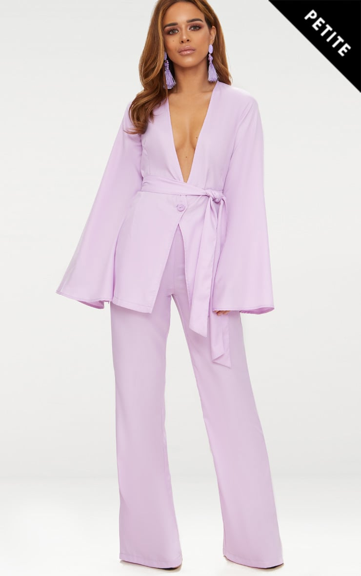 Petite Lilac Woven Wide Leg Suit Trousers 2