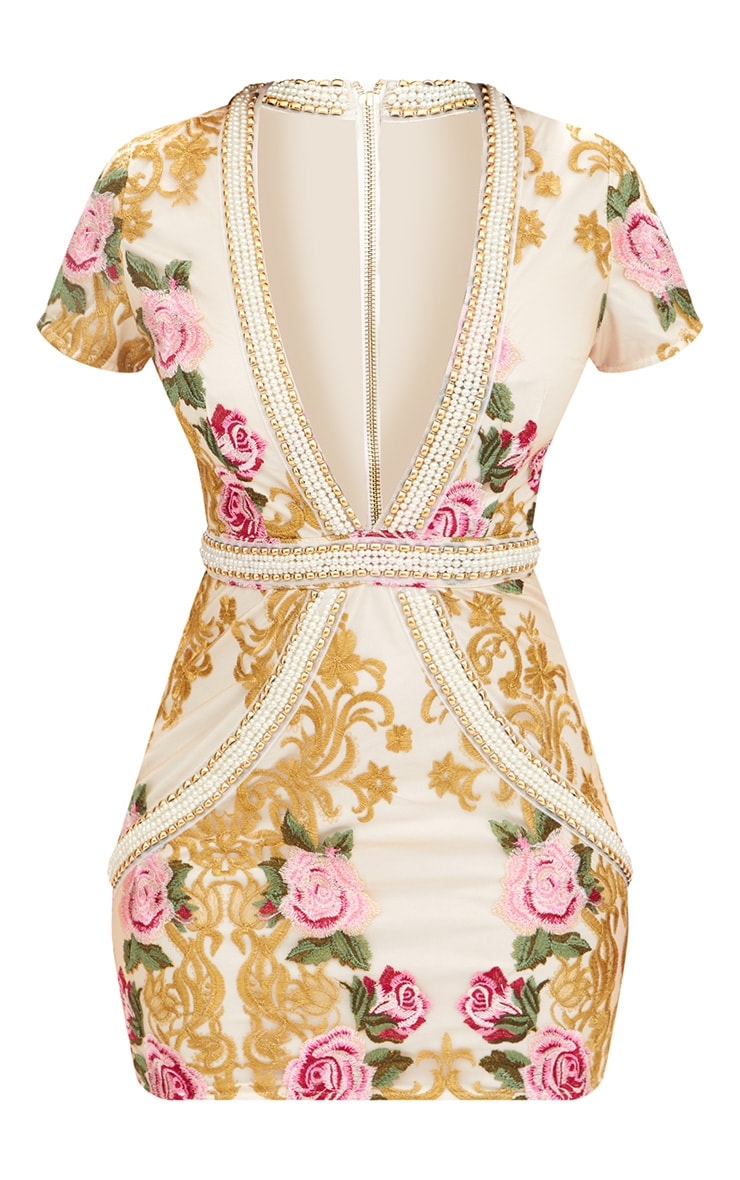 Premium White Embroidered Capped Sleeve Pearl Trim Bodycon Dress 4