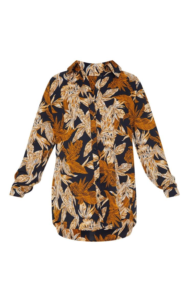 Black Palm Leaf Print Beach Shirt 4