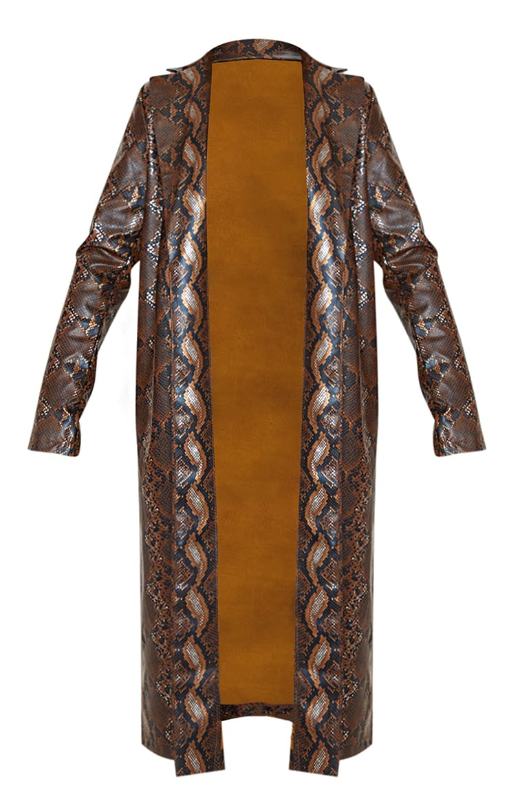 Brown Snake Print PU Trench 3