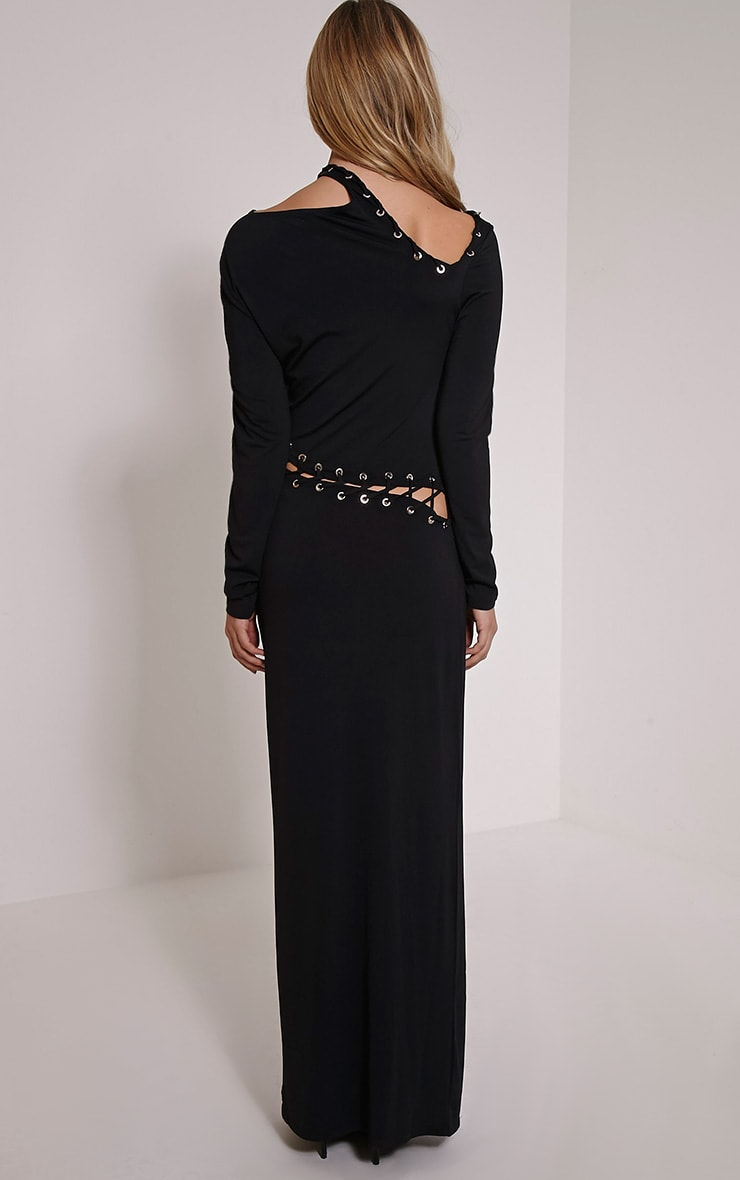Aryanna Black Asymmetric Lace Up Maxi Dress 2
