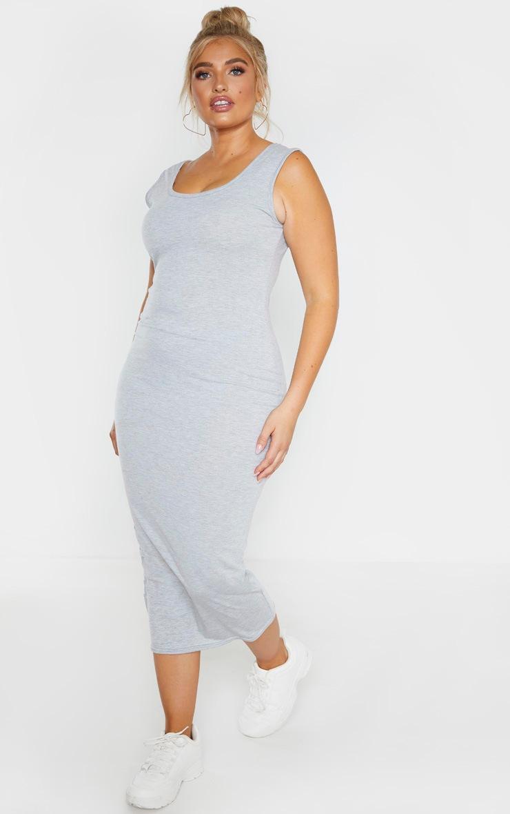 Plus Grey Marl Jersey Scoop Neck Midaxi Dress 4