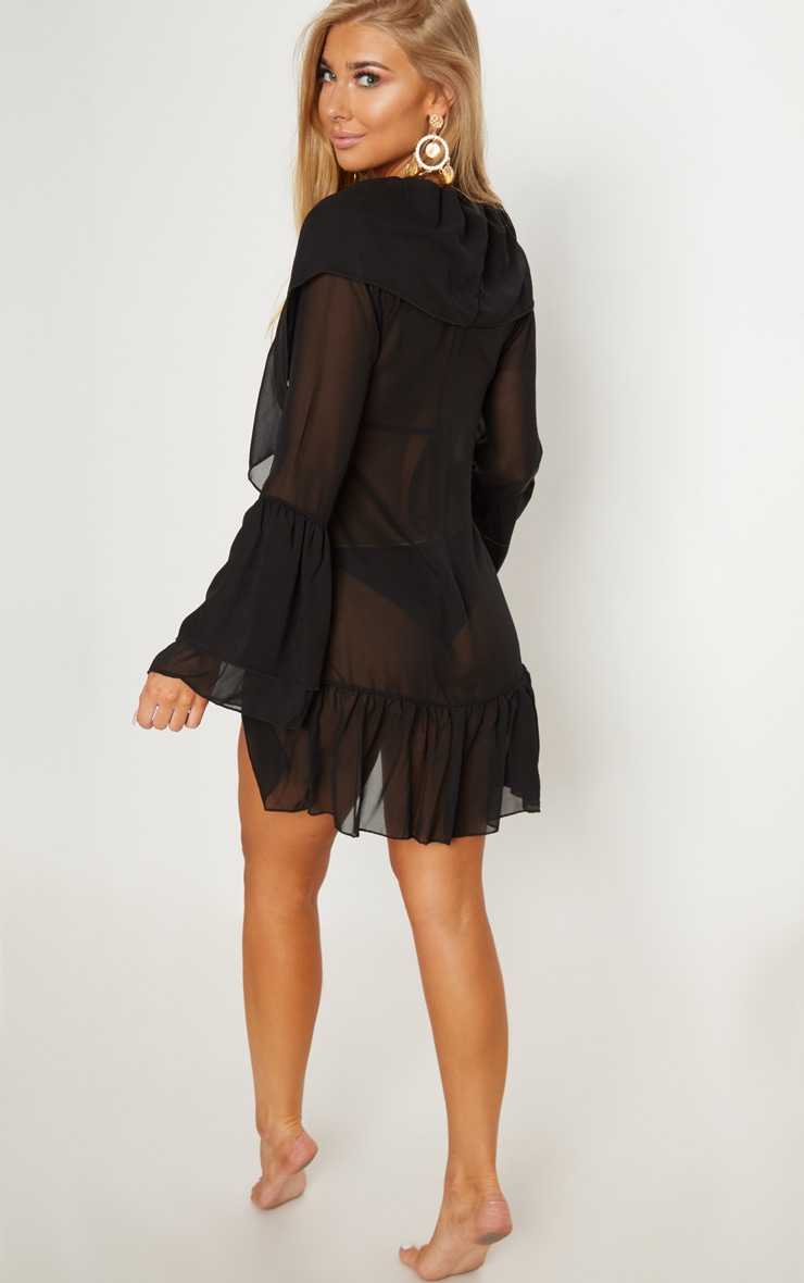 Black Frill Front & Sleeve Beach Cover Up 2