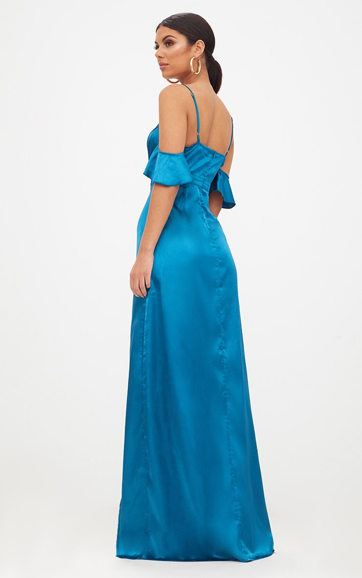 Teal Frill Sleeve Split Detail Satin Maxi Dress 2