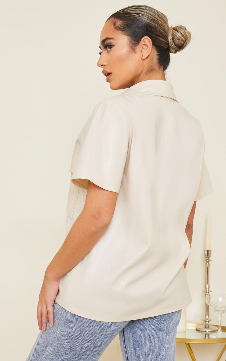 Petite Ecru Faux Leather Oversized Short Sleeve Shirt 2