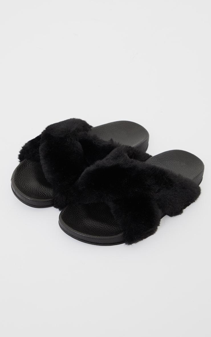 Black Cross Strap Faux Fur Sliders 3
