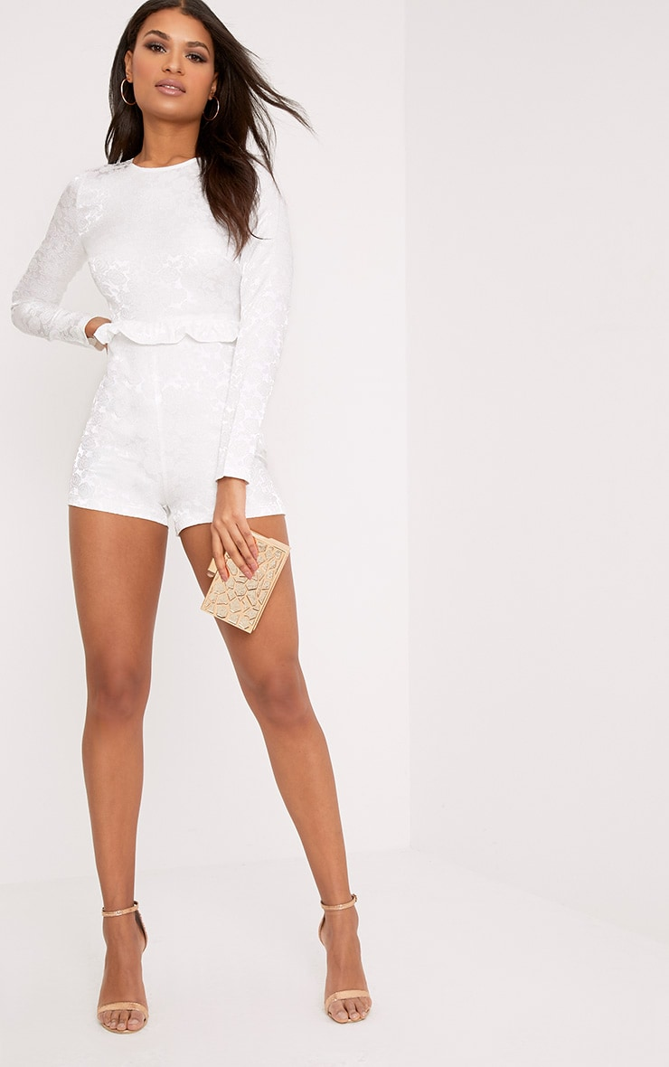 Lateysha White Embroidery Ruffle Open Back Playsuit 1