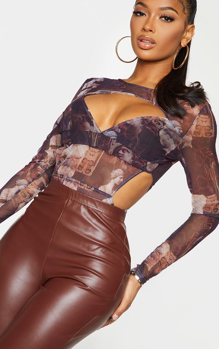 Shape Brown Renaissance Print Mesh Panel Cut Out Detail Bodysuit 4