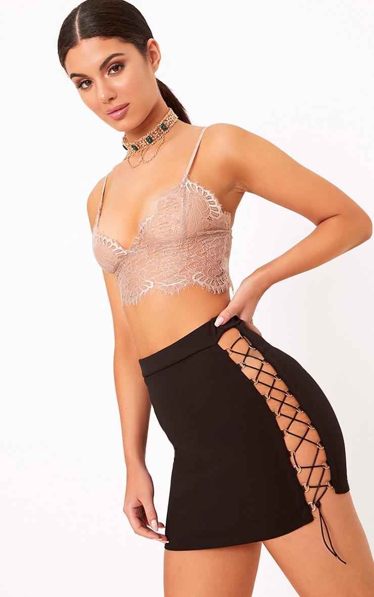 Black Side Lace Up Mini Skirt 1