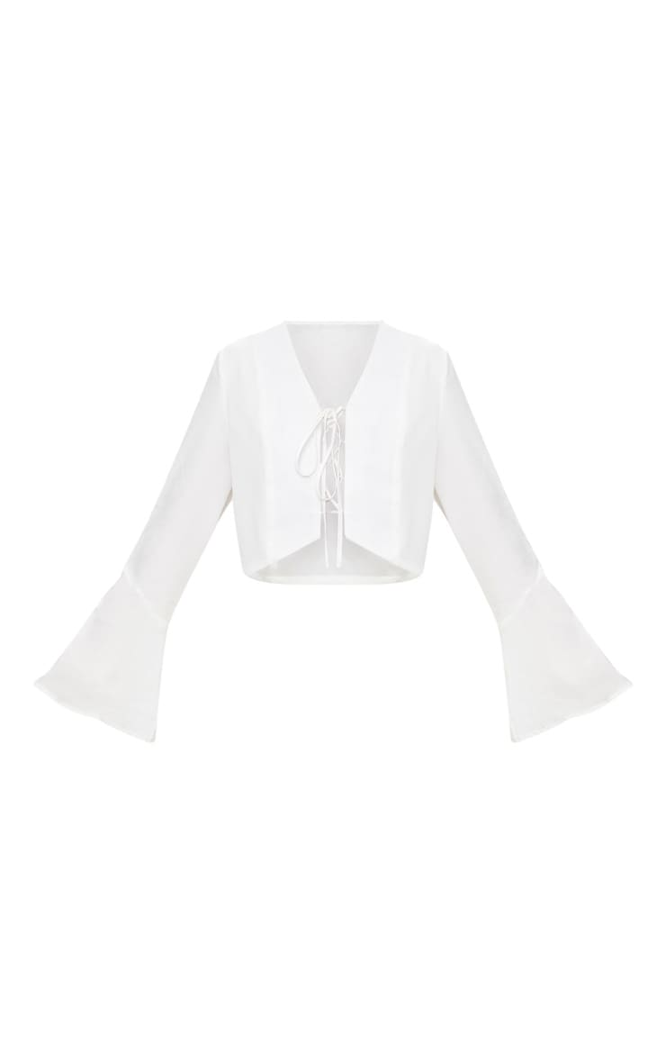 White Tie Front Flute Sleeve Blouse 3