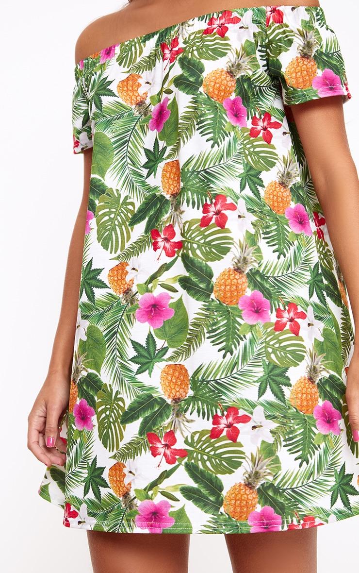 Green Leaf Print Shift Dress 5