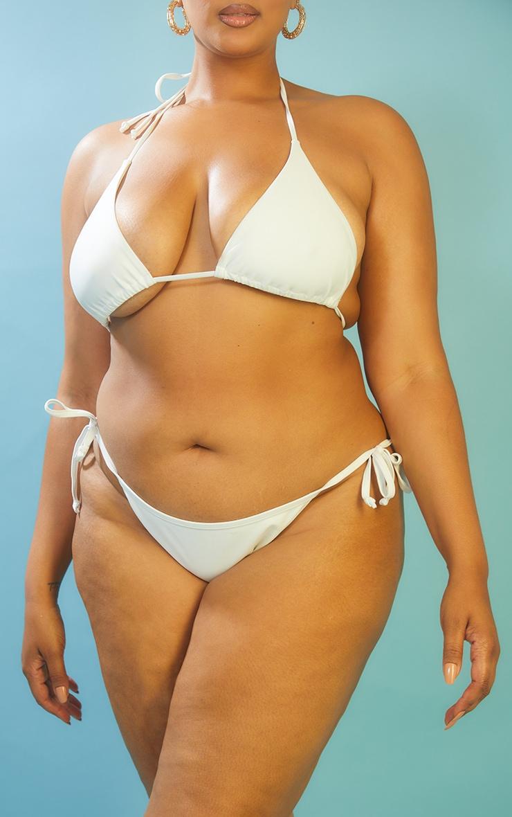 Recycled Plus White Mix & Match Tie Side Bikini Bottoms 3