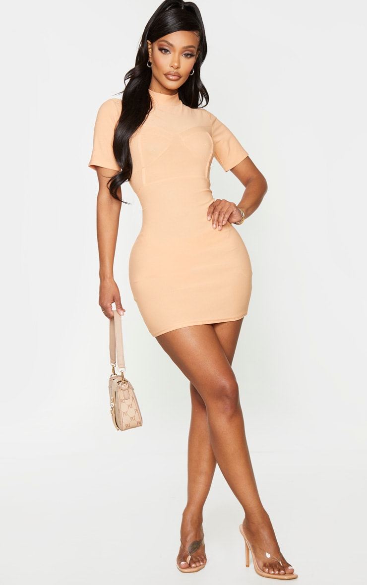 Shape Peach Crepe Cup Detailed Bodycon Dress 3