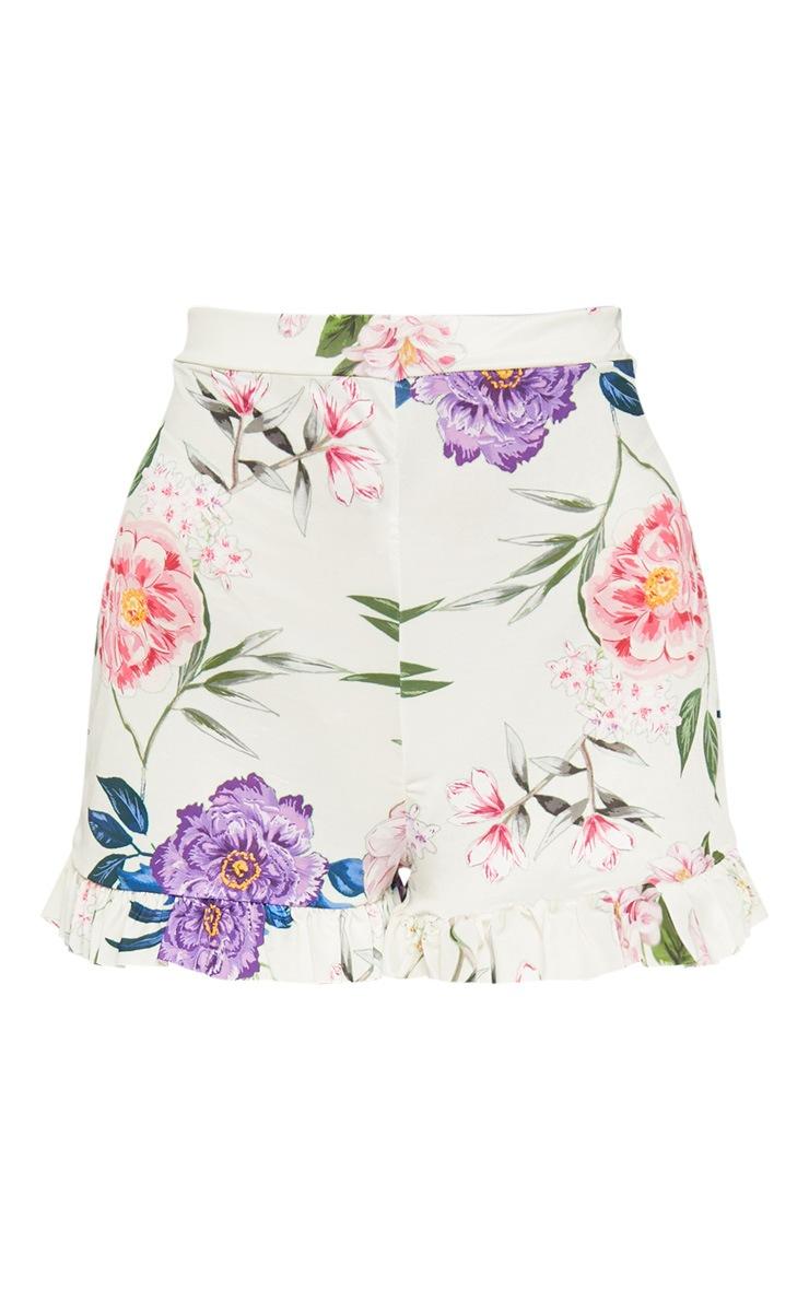 Nude Slinky Floral Frill Hem Shorts  3