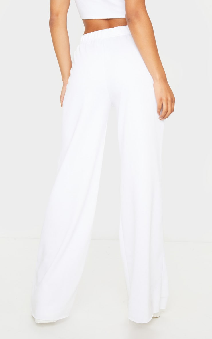 White Ripped Knee Wide Leg Joggers 3