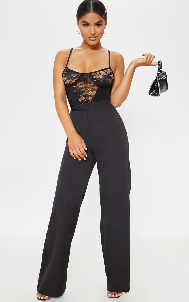 Petite Black Strappy Lace Bodysuit 5