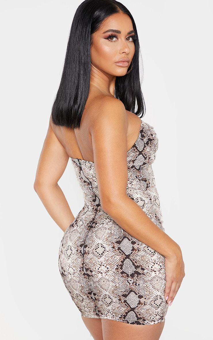 Shape Taupe Snake Print Cup Detail Bodycon Dress 2