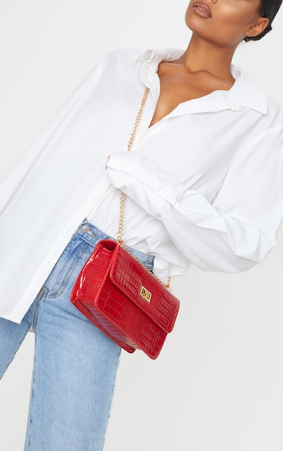 Red Croc Chain Cross Body Bag