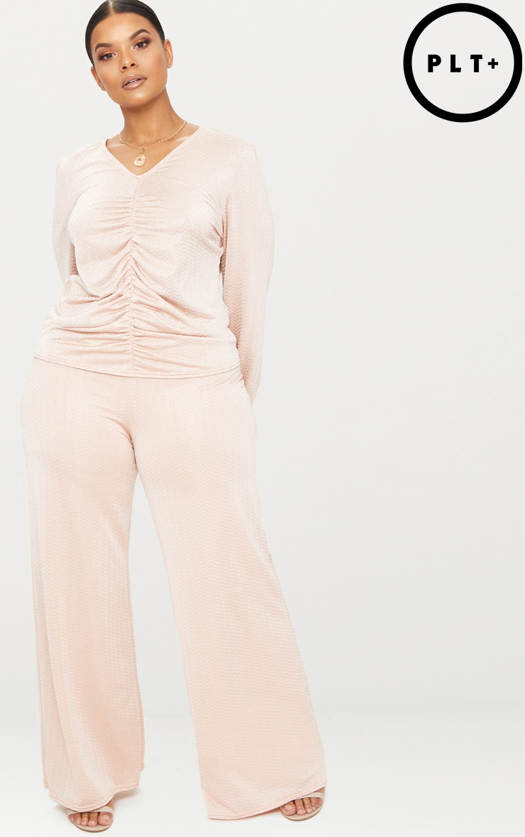 Plus Champagne Textured Wide Leg Trousers 1