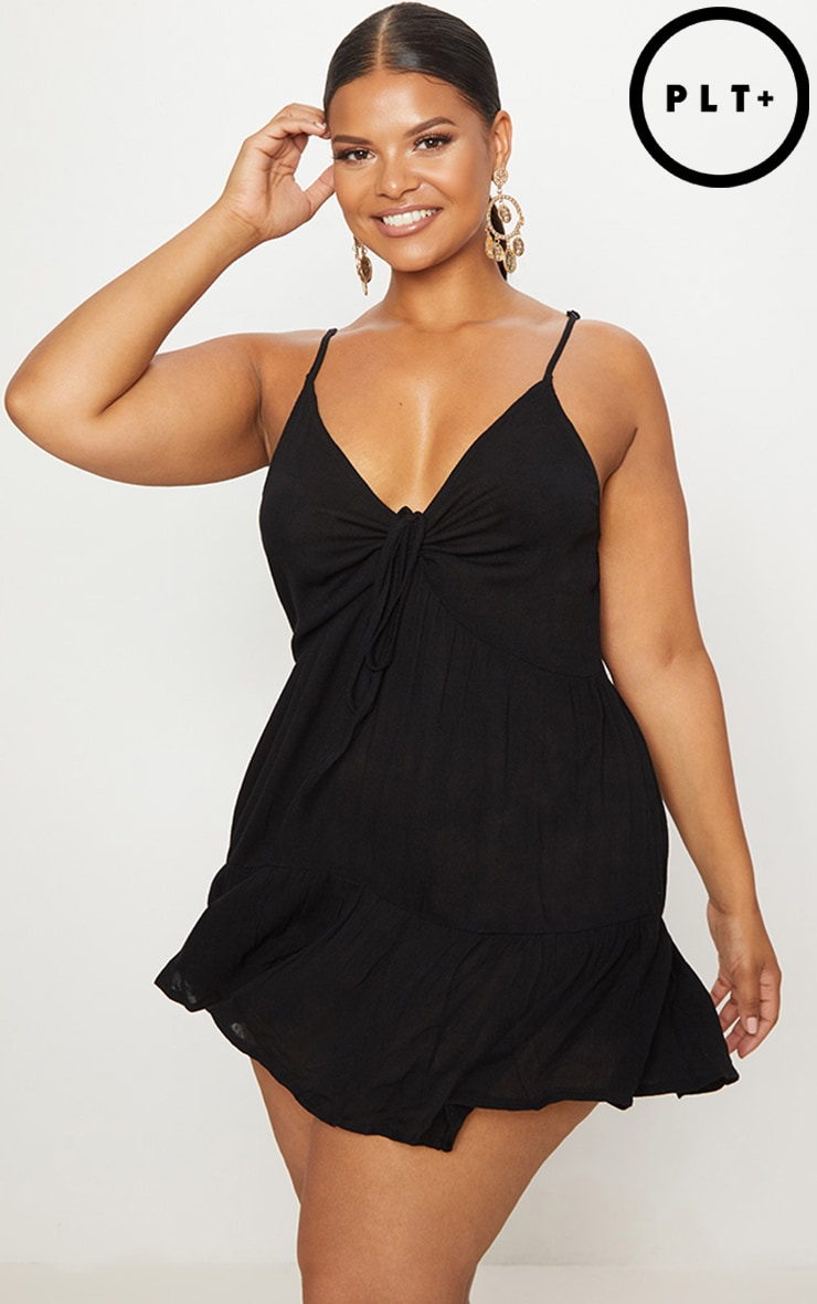 Plus Black Cheesecloth Strappy Swing Dress 1