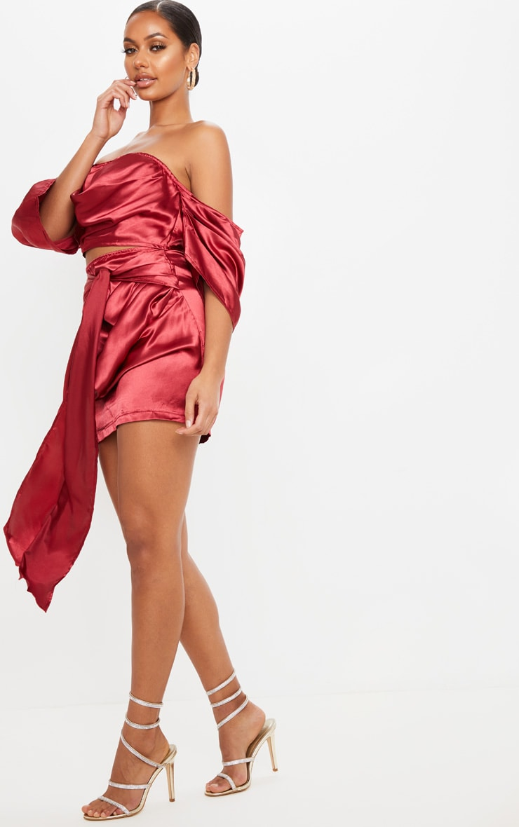 Scarlet Satin Woven Ruched Side Tie Detail Mini Skirt 4