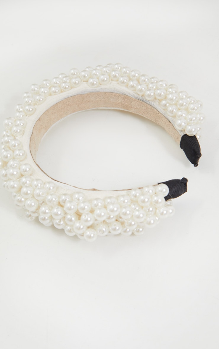 White Tiered Pearl Headband 3