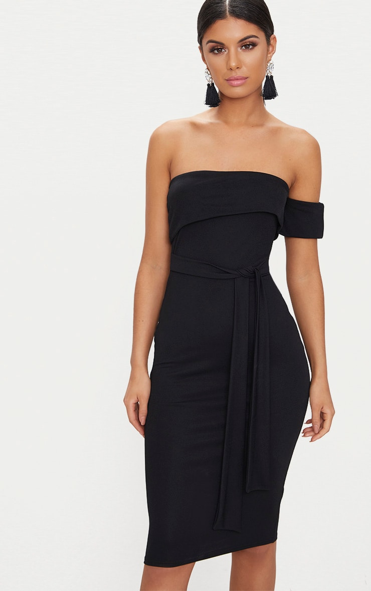 Black One Shoulder Bardot Tie Detail Midi Dress 1