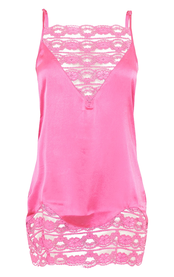 Hot Pink V Neck Lace Panel Satin Nightie 5