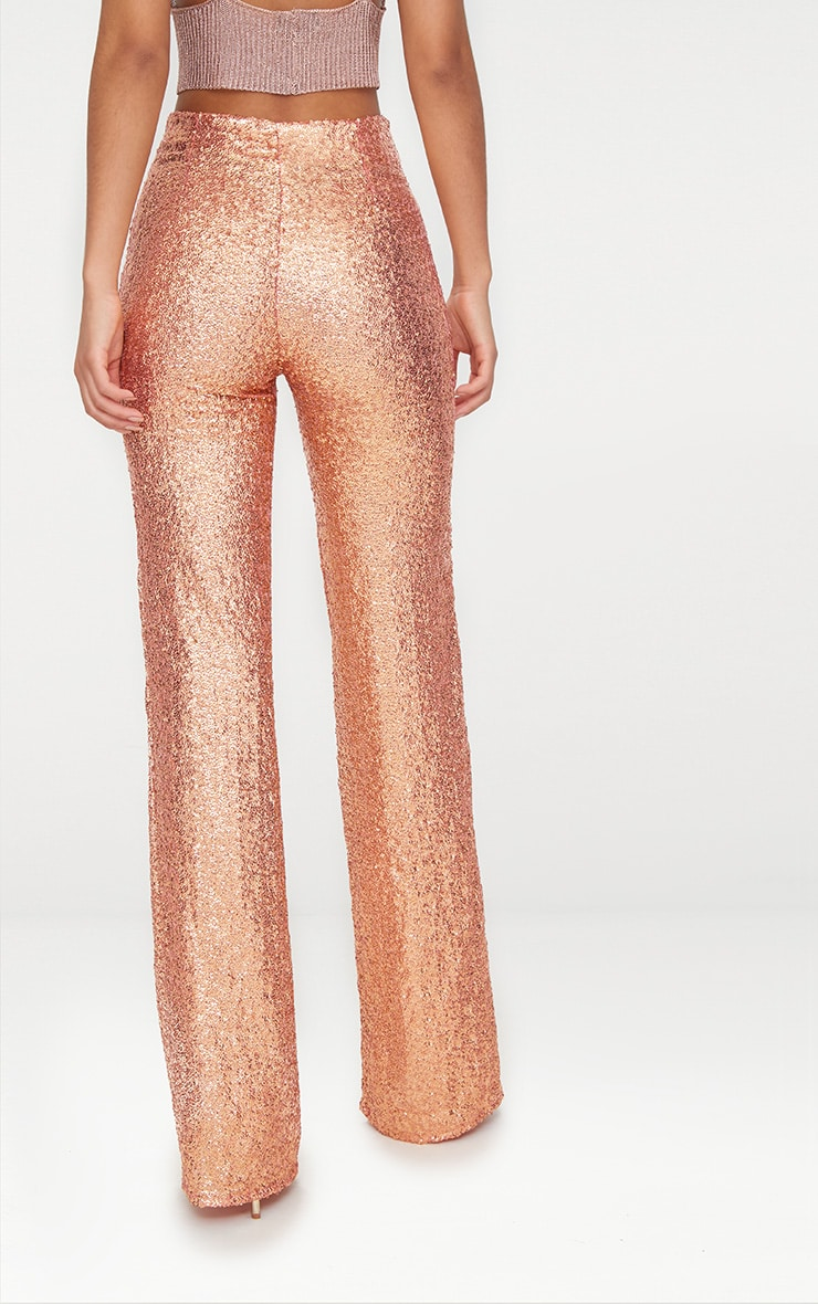 Rose Gold Sequin Wide Leg Trousers 4