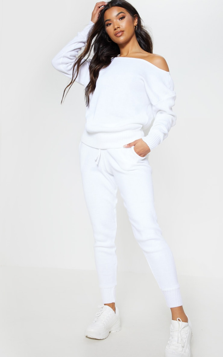 White Jogger Jumper Knitted Lounge Set 1
